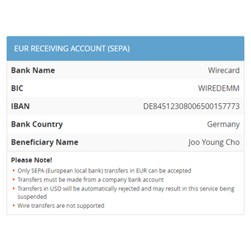 EUR Receiving Account (SEPA)