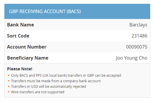 GBP Receiving Account (BACS)