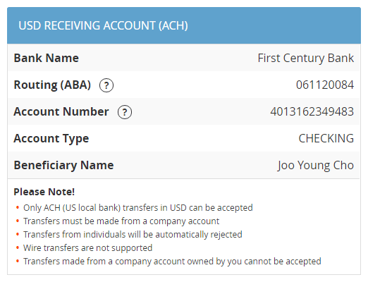 USD Receiving Account (ACH)