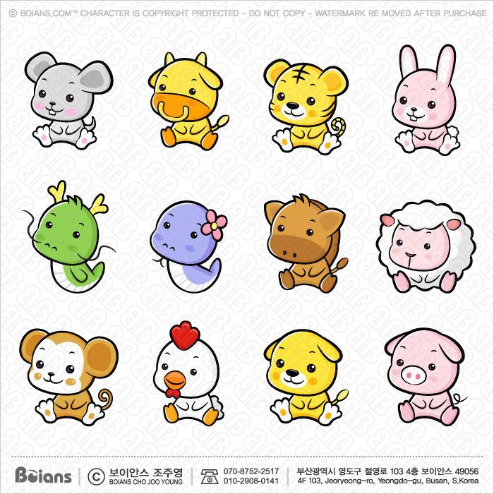 Boians Vector Asia Zodiac Character Design 12 Cut Sets 001.