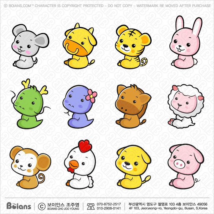 Boians Vector Asia Zodiac Character Design 12 Cut Sets 002.
