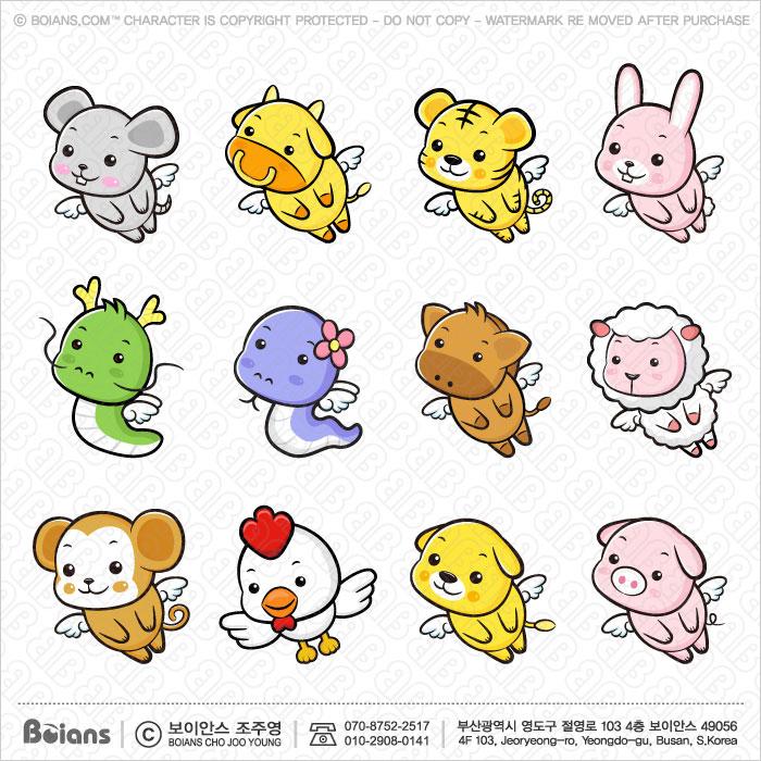 Boians Vector Asia Zodiac Character Design 12 Cut Sets 004.