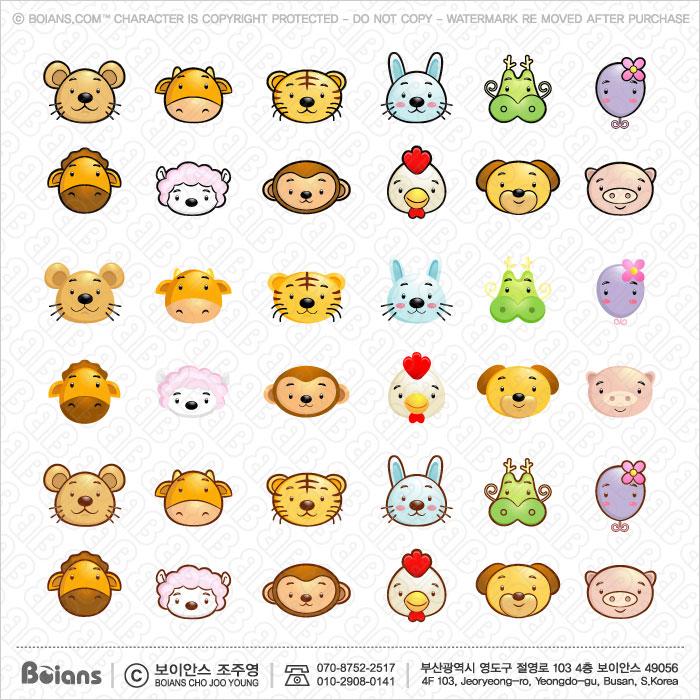 Boians Vector Asia Zodiac Character Design 12 Cut Sets 020.
