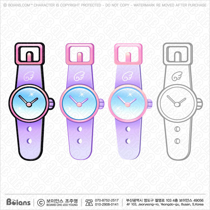 Boians Vector Cute Style Wristwatch Character Design.
