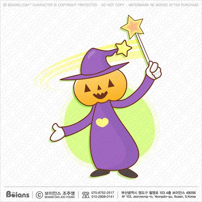 Boians Vector Pumpkin Wizard Character practice the black art.