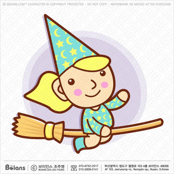 Boians Vector Sorceress Character riding a broom flies.