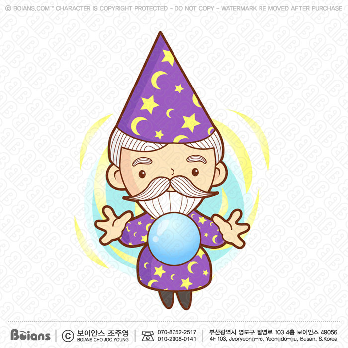 Boians Vector Senior Wizard Character practice the black art.