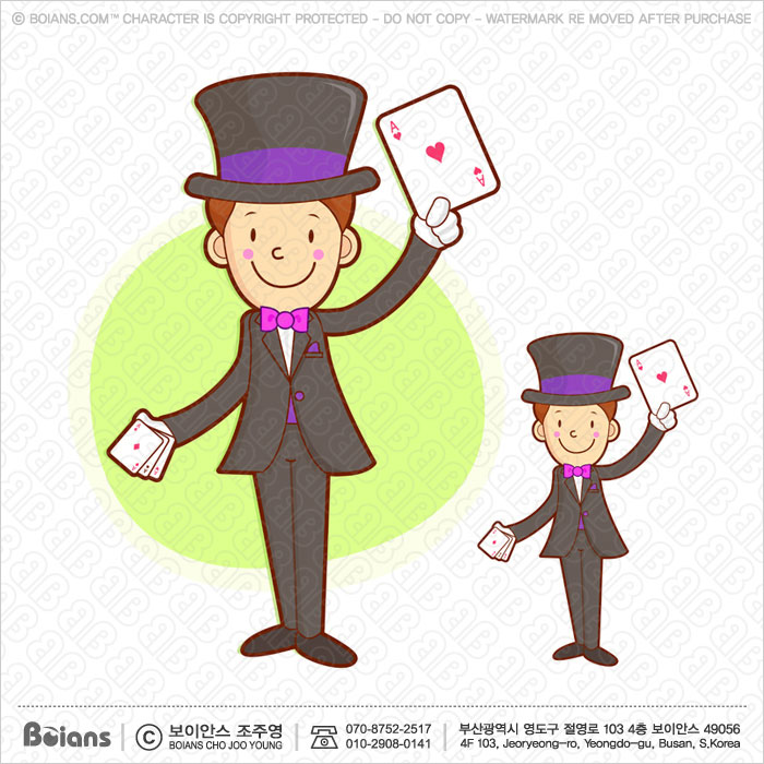 Boians Vector The Magician Character is a card trick playing.