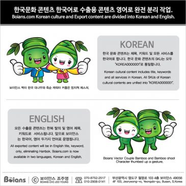 Boians Korean culture and Export content are divided into Korean and English.